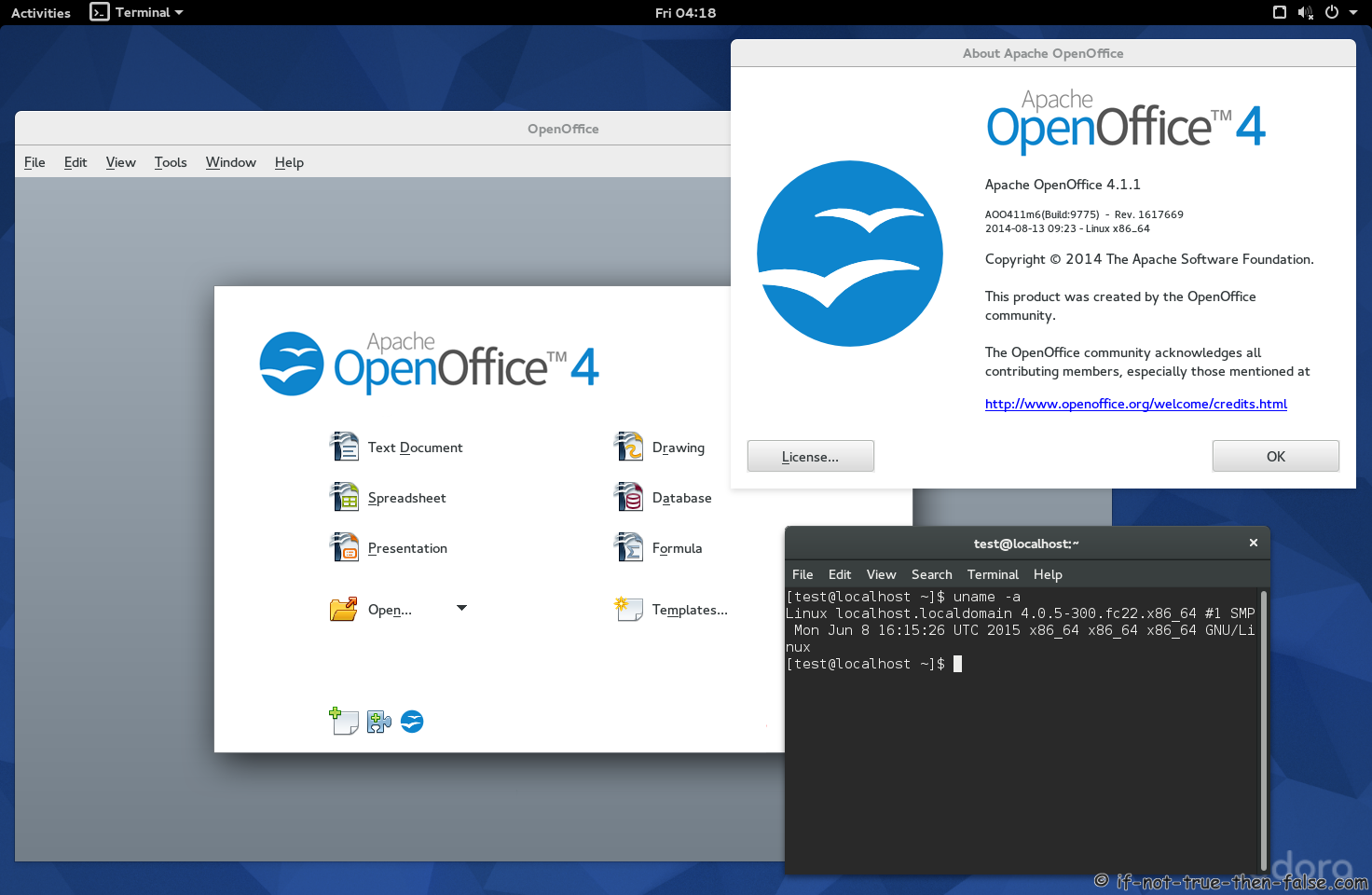 Apache OpenOffice 4.1.1 on Fedora 22