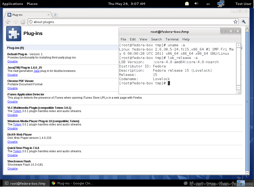 Browser on fedora 15 64 bit with 32 bit flash and oracle java plugin