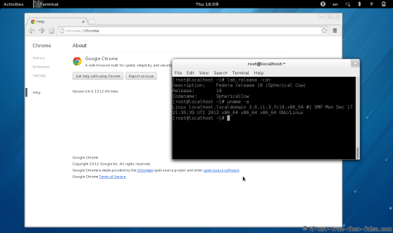 Google Chrome Beta Running on Fedora 18