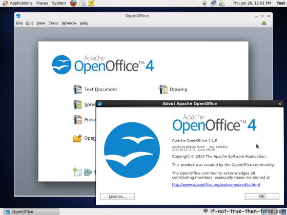 Apache Openoffice 4.1 running on CentOS 6.5
