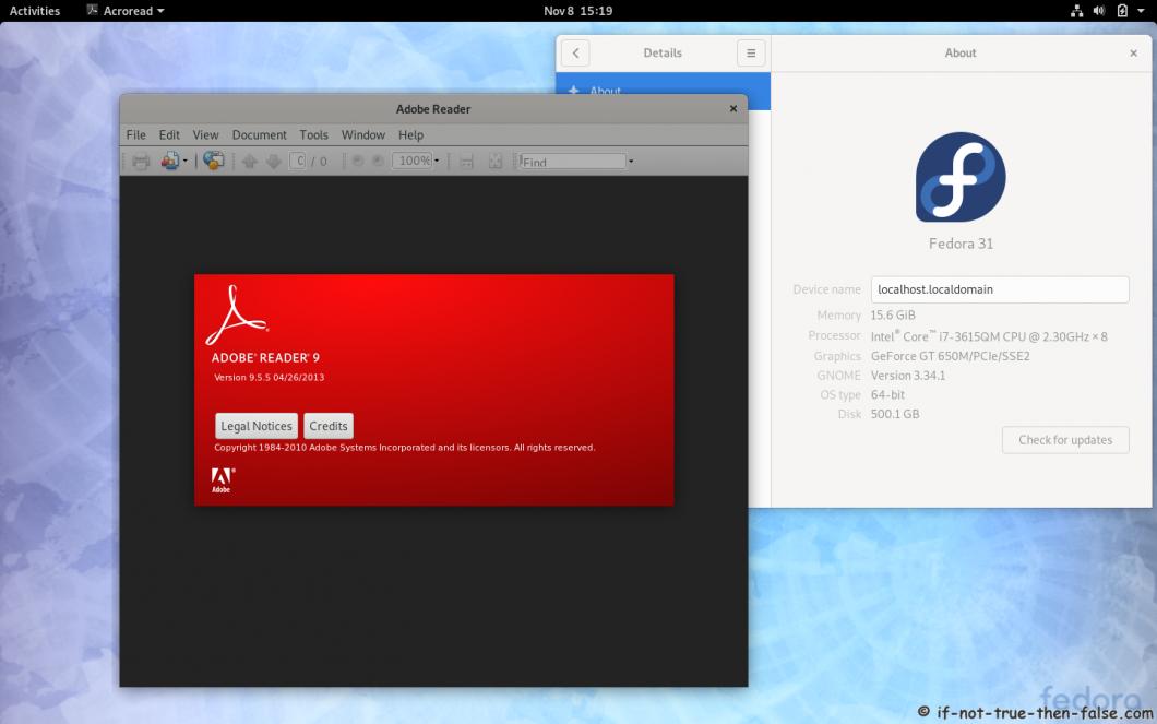 Adobe Reader running on Fedora 31