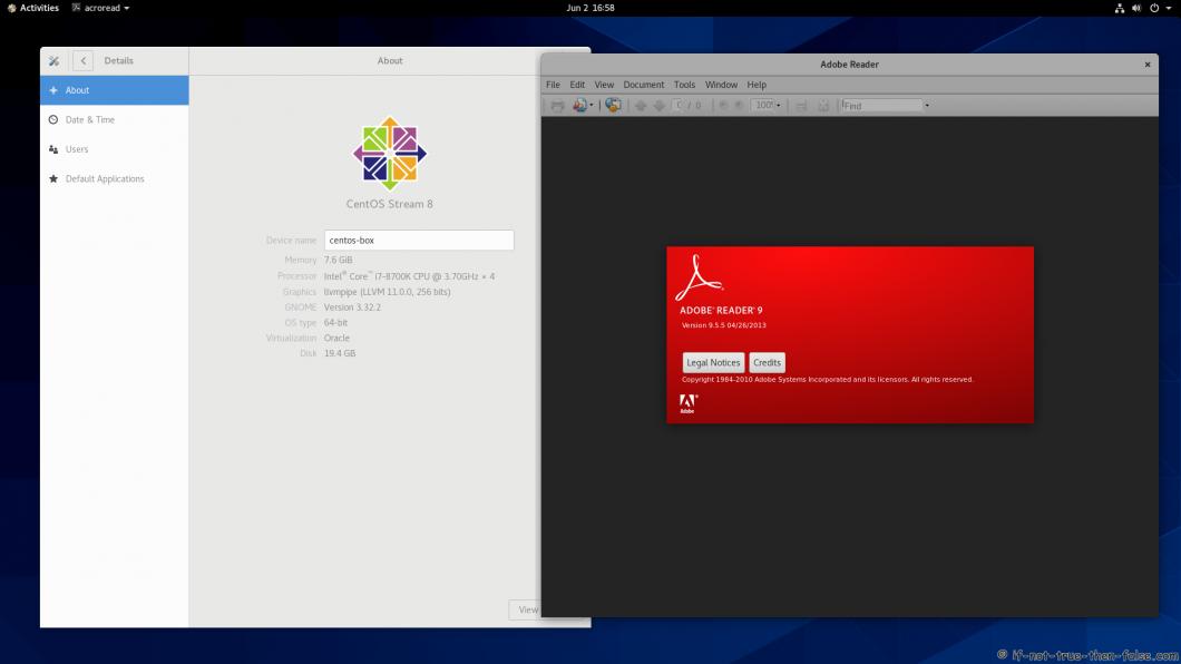 Adobe Reader running on CentOS 8