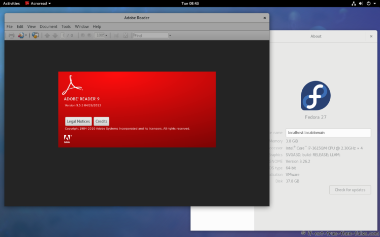 Adobe Acrobat Reader Running on Fedora 27