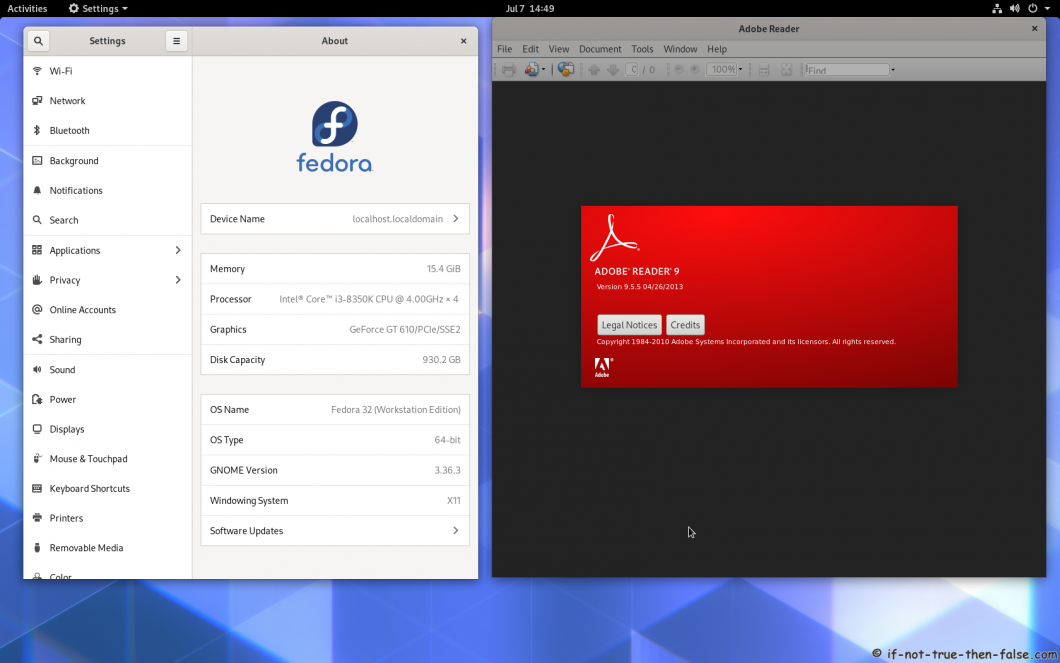 Adobe Reader Running on Fedora 32