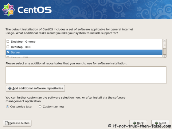CentOS 5.11 Select installation type