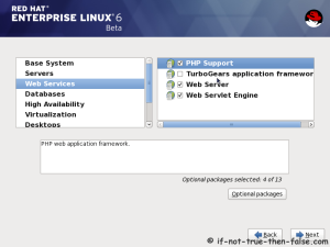 18. Customize package selection - Select PHP and Web Server to installation