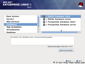 18. Customize package selection - Select MySQL and PostgreSQL Databases