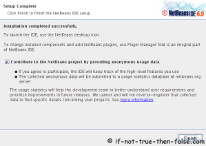 NetBeans 6.9.1 IDE Installation Complete