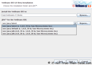 Choose a NetBeans 6.9.1 Installation Directory and JDK Directory
