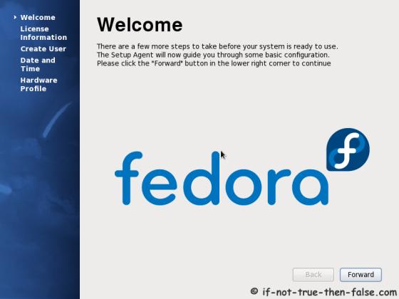 Fedora welcome screen