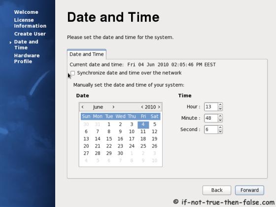 Setup date and time