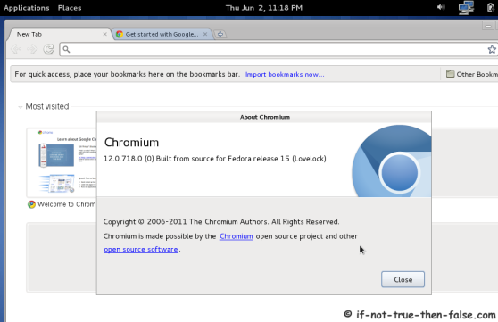 Chromium running on Fedora 15