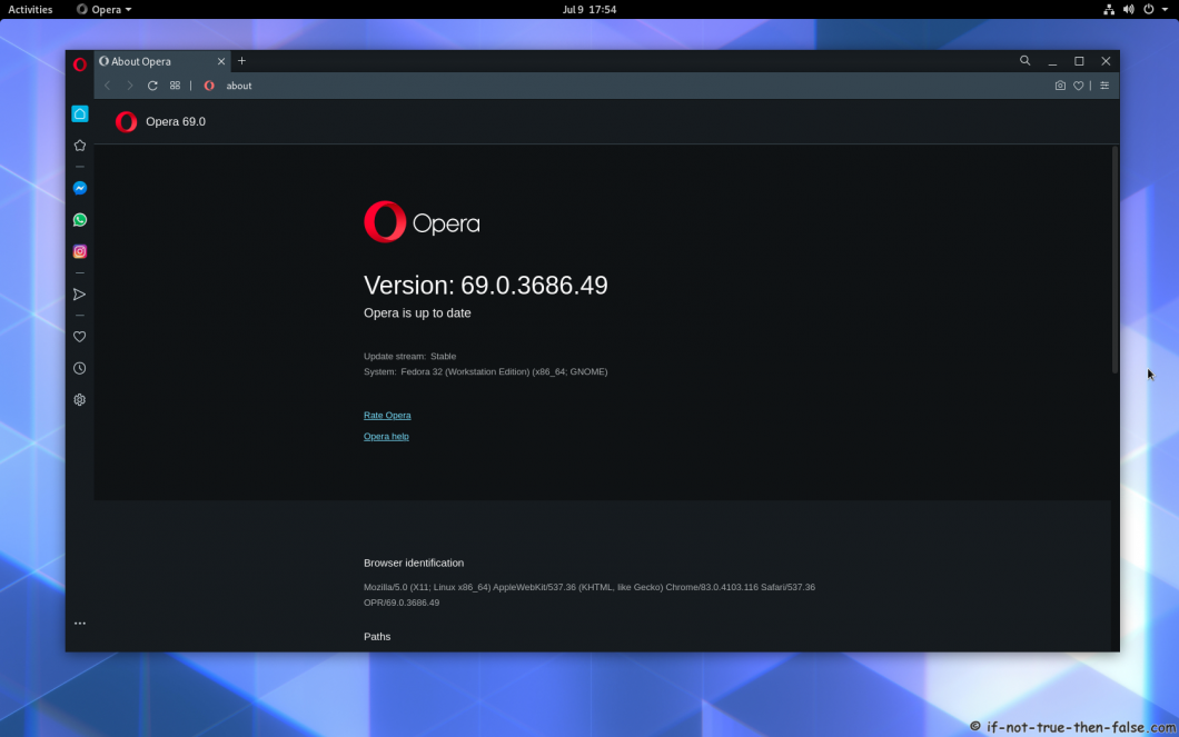Opera 69 Running on Fedora 32