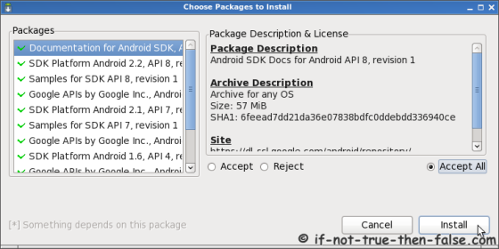 Android SDK and AVD Manager Choose Packages to Install
