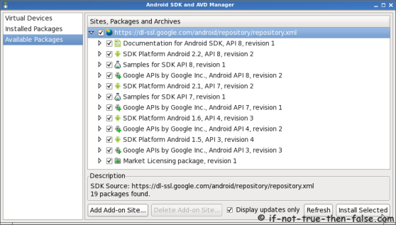 Android SDK and AVD Manager Install SDKs