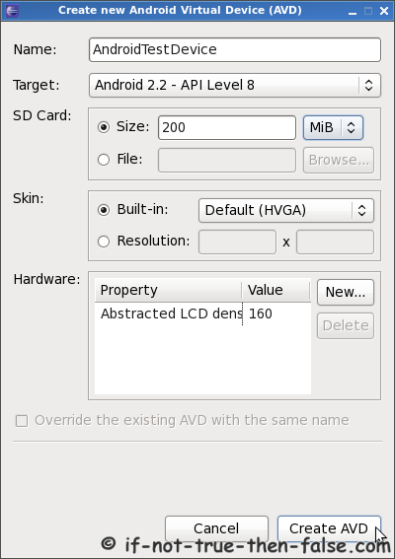 Create new Android Virtual Device AVD
