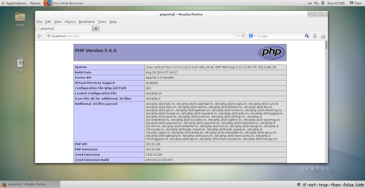 CentOS 7 running Apache and PHP 5.6.0