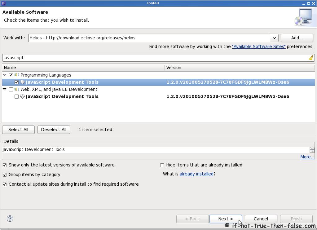 Eclipse 3.6 Install PDT, JavaScript, CDT, Ruby, MarketPlace ...