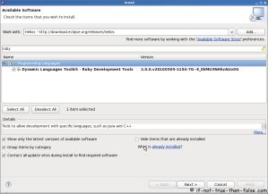 Eclipse SDK 3.6 Install Ruby on Rails Tools Plugin