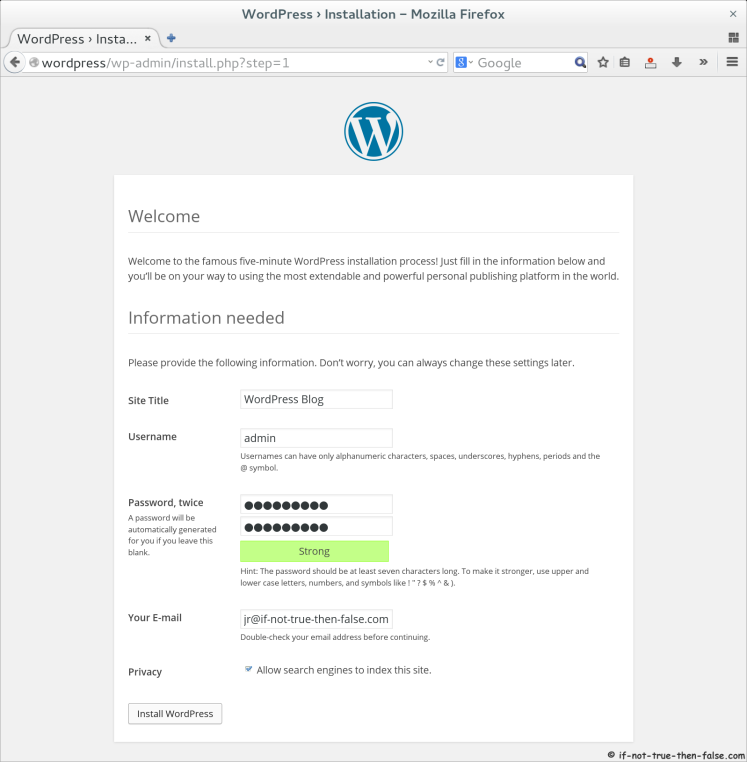 WordPress 4.0 Setup Basic WordPress Blog Data and Create Admin User