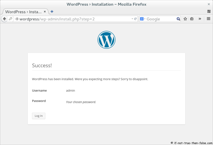 WordPress 4.0 Installation Success