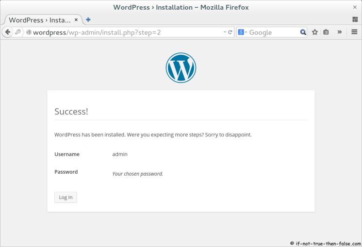 WordPress 4.0 Installation Success