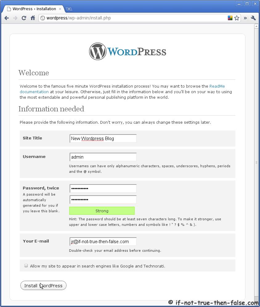how to start wordpress on centos