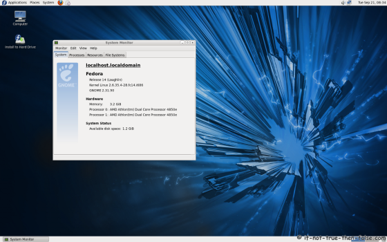 Fedora 14 (f14) Screenshot System Monitor