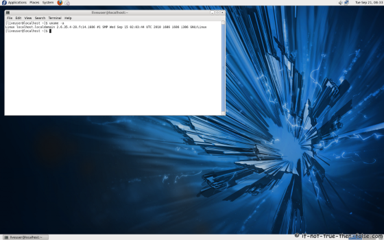 Fedora 14 (f14) Screenshot uname -a