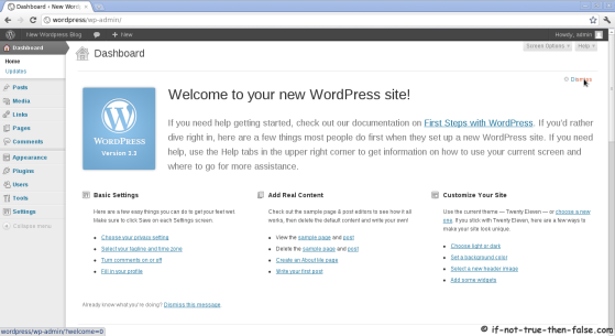 Wordpress 3.5.1 New welcome screen and dashboard