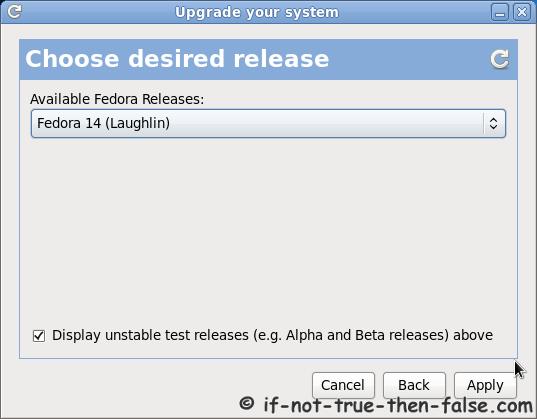 Fedora Preupgrade choose desired release