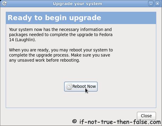 Fedora Preupgrade reboot to begin upgrade