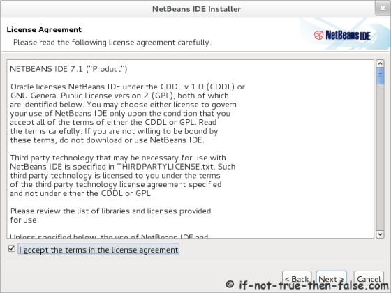 Netbeans 7.1 Accept license agreement