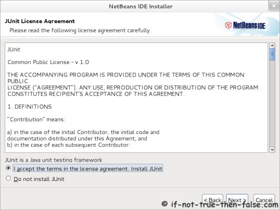 Netbeans 7.1 Accept junit license agreement