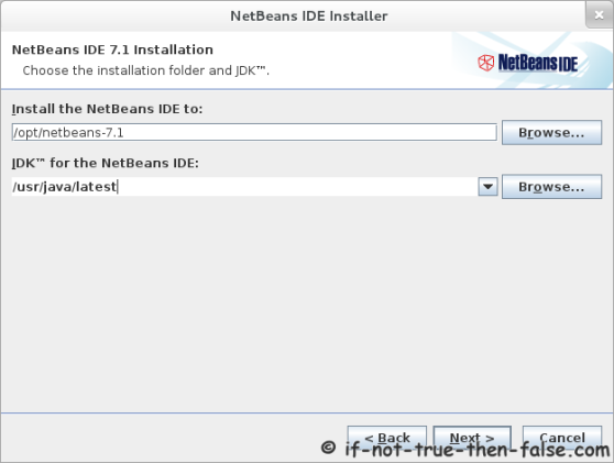 Netbeans 7.1 Choose installation directory and JDK version