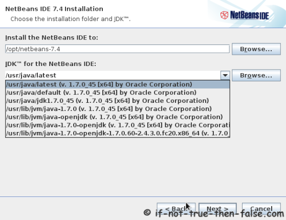 Choose a NetBeans IDE 7.4 Installation Directory and JDK version