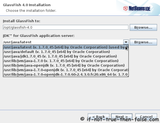 Choose a NetBeans IDE 7.4  GlassFish Installation Directory and JDK version