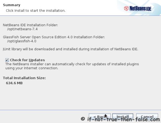 Netbeans IDE 7.4 Installation Summary