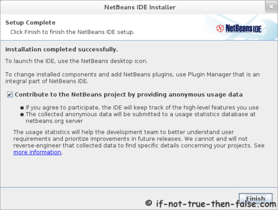 Netbeans 7.1 Installation complete