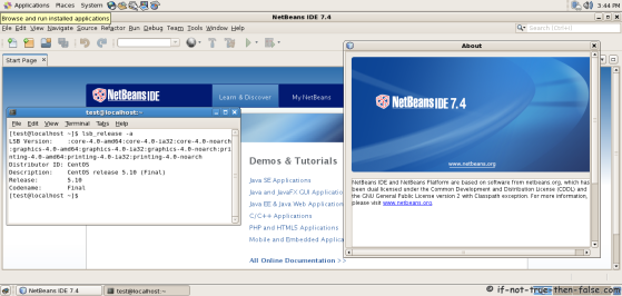 NetBeans IDE 7.4 running on CentOS 5.10