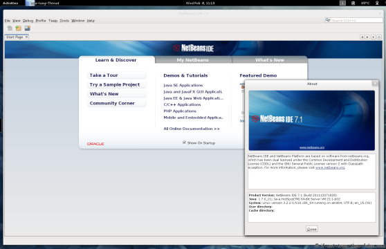NetBeans 7.1 IDE running on Fedora 16
