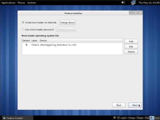 Fedora 15 (F15) Configure bootloader (grub)