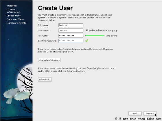Fedora 15 (F15) Create user