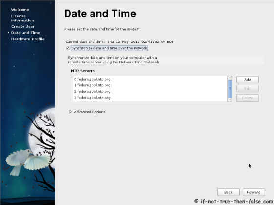 Fedora 15 (F15) Date and time settings