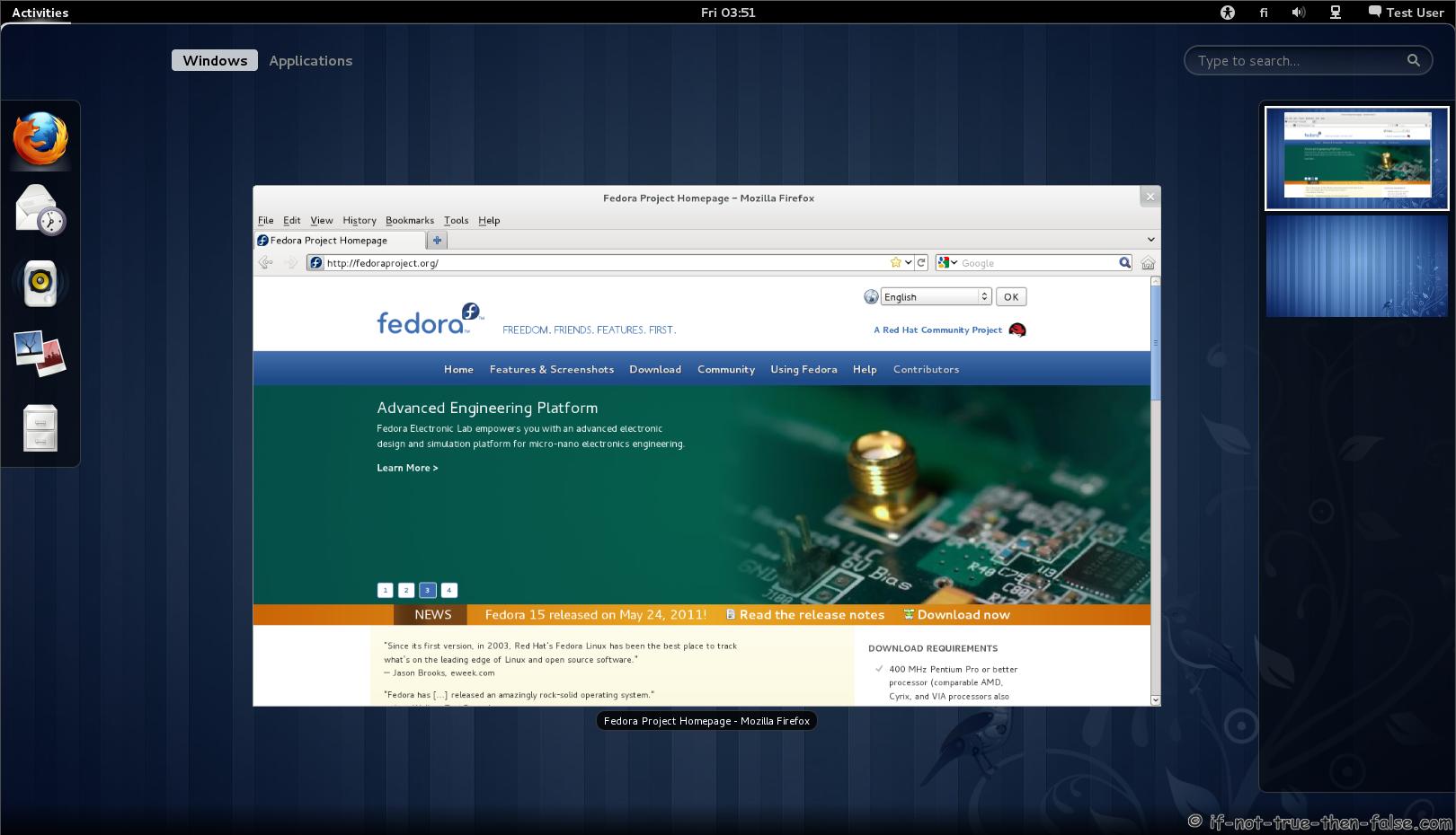 Fedora 15 Gnome Shell Activities Firefox running – If Not