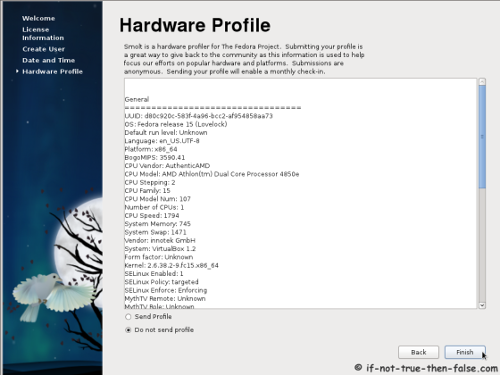 Fedora 15 (F15) Hardware profile