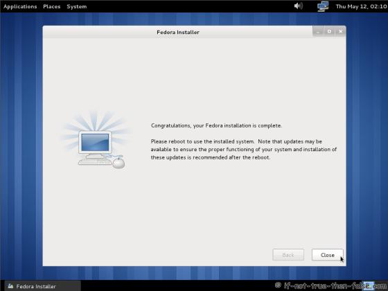 Fedora 15 (F15) Installation complete