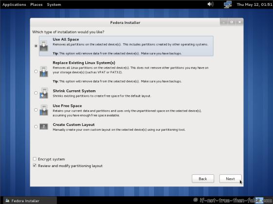 Fedora 15 (F15) Select installation type