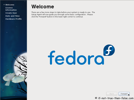 Fedora 15 (F15) Welcome screen