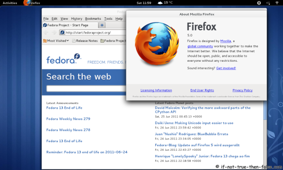 Firefox 5 running on Fedora 15